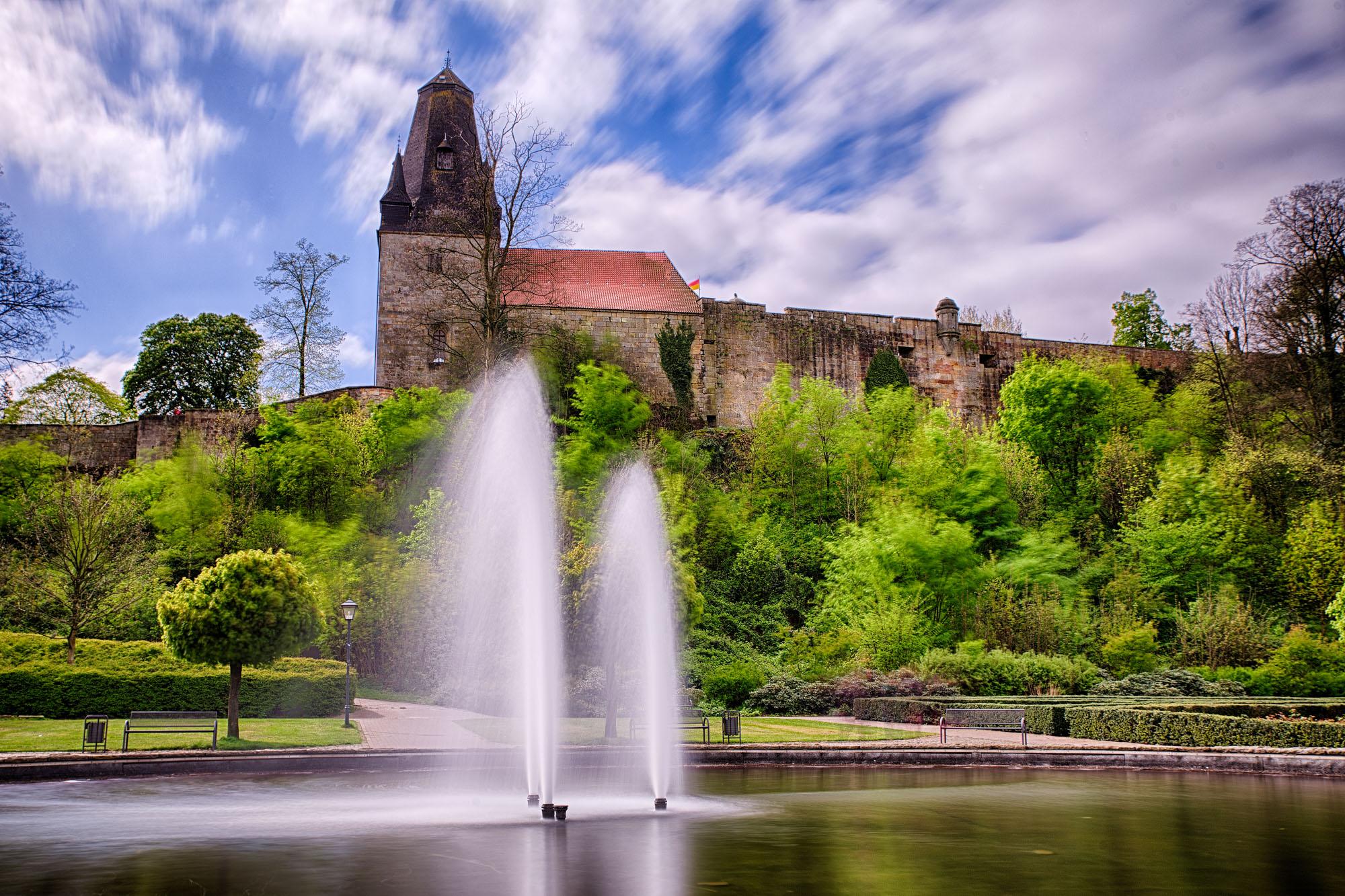Kasteeltuin Bad Bentheim aan de voet van de Burcht
